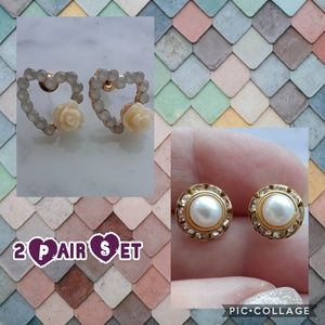 New! 2 Pair Set. Heart Rose & Faux Pearl / Crystal